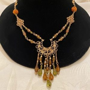 Vintage Necklace With Dangling Crystals